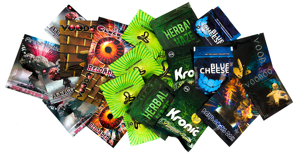 Display of Legal Highs packets. The products shown are not restricted for sale in the UK (Jan 15th, 2015)